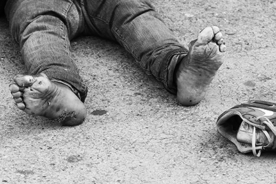 Homeless Man's Feet: Homeless : New York : : New York :  Photos : Richard Moore : Photographer